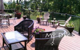 wood deck with whicker furniture