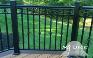 wood deck with metal fence
